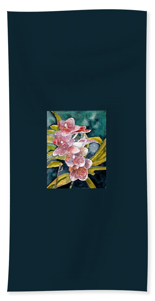 Orchid Bath Sheet featuring the painting Hybrid Orchids Orchid Flowers by Derek Mccrea