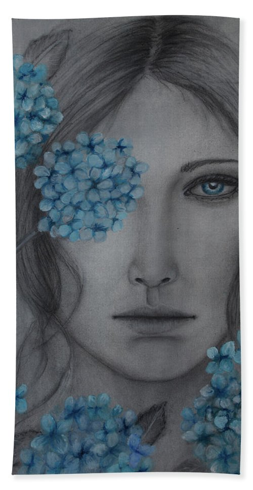 Portrait Hand Towel featuring the mixed media Hydrangea by Christine Howe