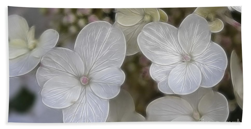 Flowers Hand Towel featuring the mixed media Hydrangea Fractalius by Deborah Benoit