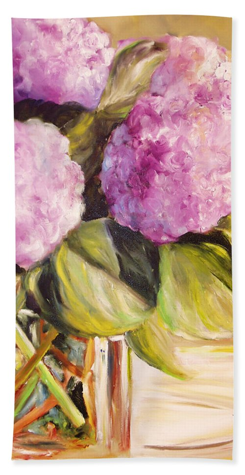 Hydrangea Bath Sheet featuring the painting Hydrangea Heaven by Toni Grote