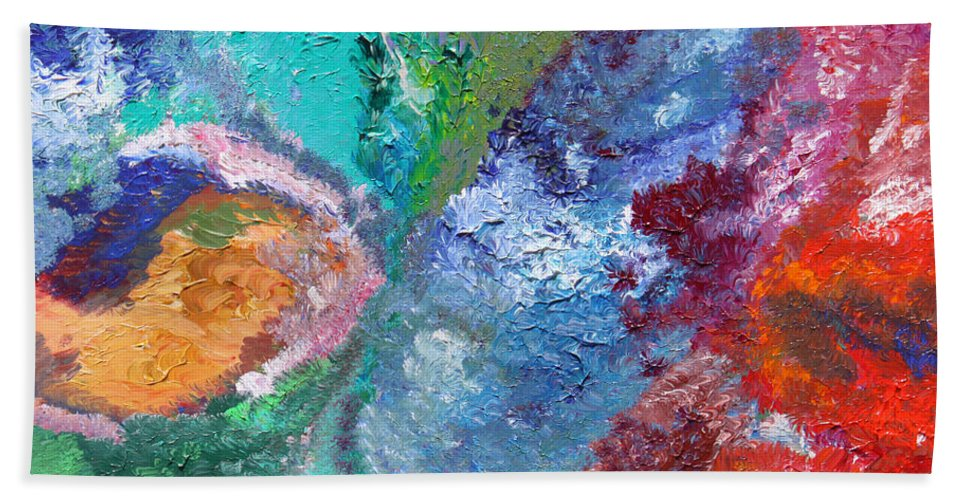 Fusionart Hand Towel featuring the painting Hydrangea by Ralph White
