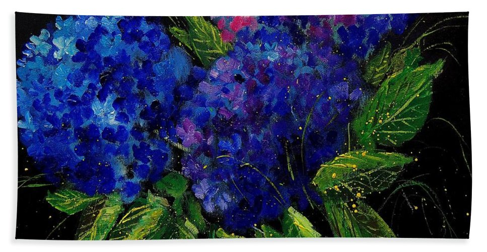 Flowers Hand Towel featuring the painting Hydrangeas 66 by Pol Ledent
