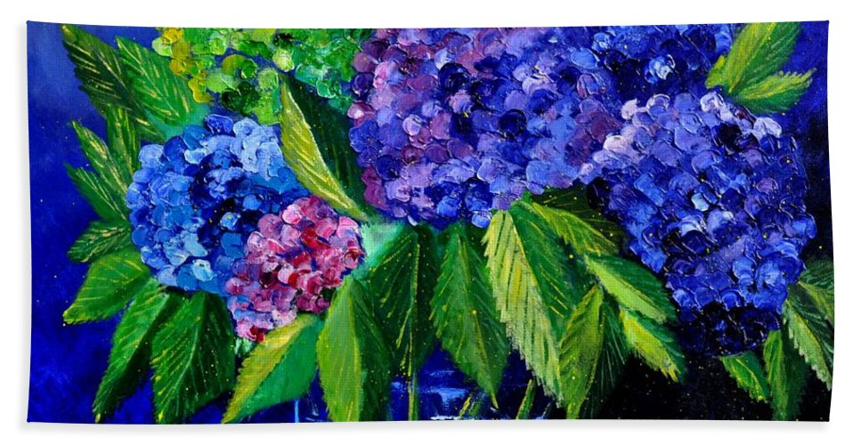 Flowers Hand Towel featuring the painting Hydrangeas 88 by Pol Ledent