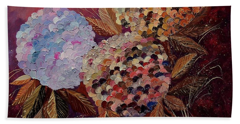 Flowers Bath Sheet featuring the painting Hydrangeas 880130 by Pol Ledent