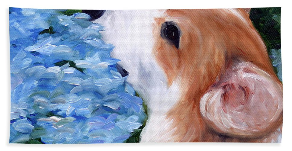 Art Bath Sheet featuring the painting Hydrangeas by Mary Sparrow