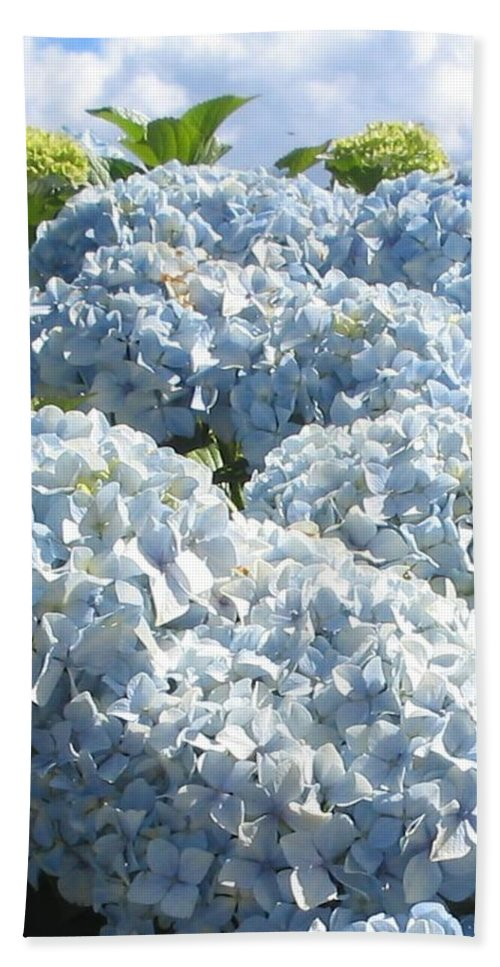 Blue Hydrangea Bath Sheet featuring the photograph Hydrangeas by Valerie Josi