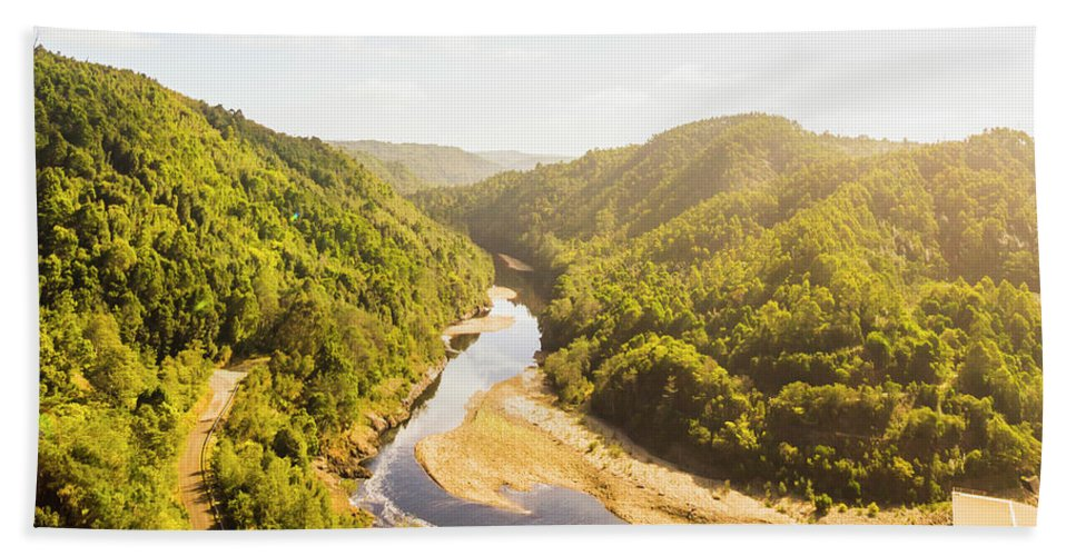 Energy Hand Towel featuring the photograph Hydropower Valley River by Jorgo Photography - Wall Art Gallery