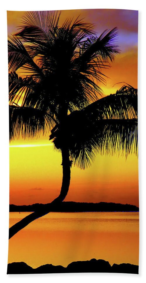 Palm Tree Silhouettes Bath Sheet featuring the photograph Hypnotic by Karen Wiles
