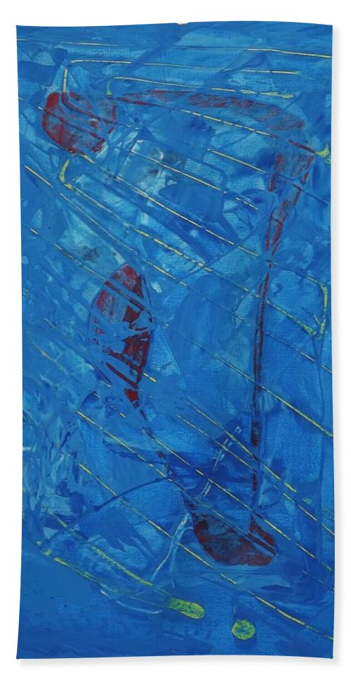 Abstract Art Hand Towel featuring the painting Hypothetical Particles by John Dossman