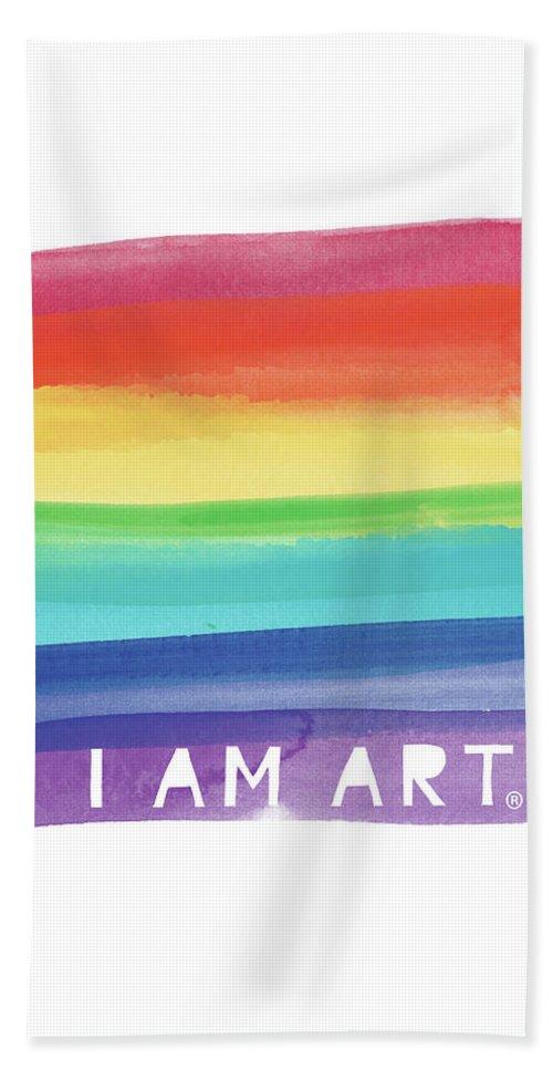 Rainbow Bath Towel featuring the painting I Am Art Rainbow Stripe- Art By Linda Woods by Linda Woods