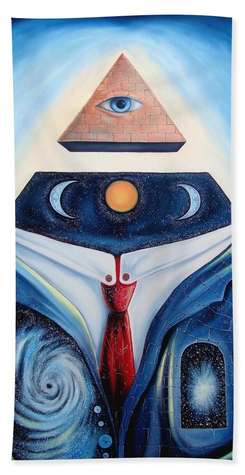 Surrealism Bath Sheet featuring the painting I Am by Darwin Leon