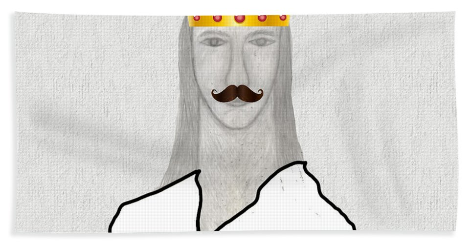 King Bath Sheet featuring the drawing I Am King But I Can Still Love by Sergey Sogomonyan