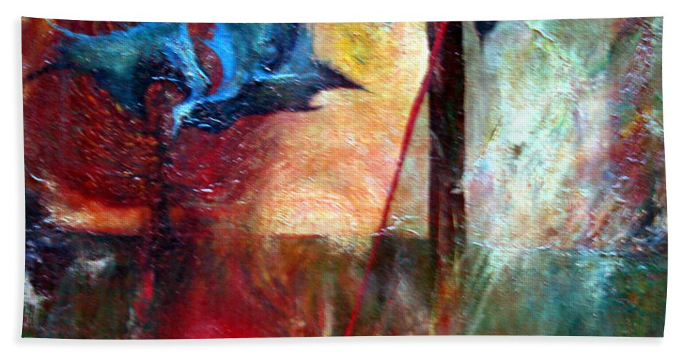 Colour Hand Towel featuring the painting I Am Near You by Wojtek Kowalski