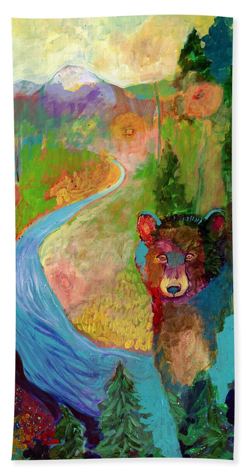 Bear Bath Towel featuring the painting I Am The Mountain Stream by Jennifer Lommers