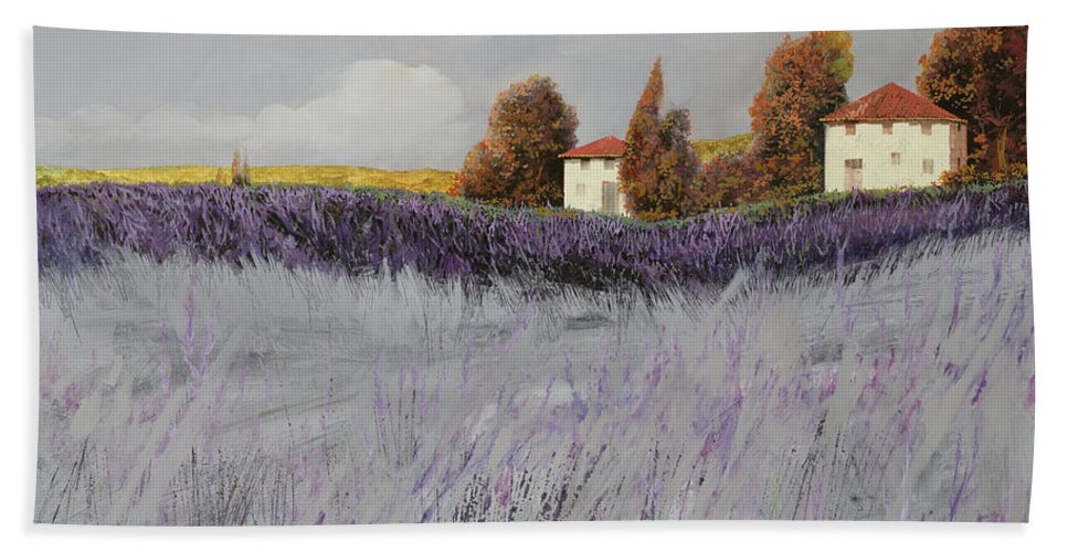 Lavender Bath Sheet featuring the painting I Campi Di Lavanda by Guido Borelli