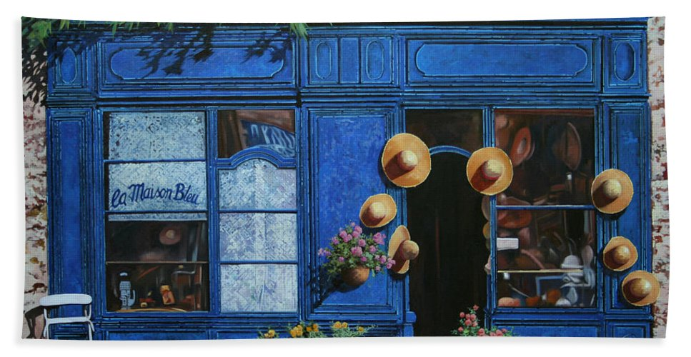 Shop Hand Towel featuring the painting I Cappelli Gialli by Guido Borelli