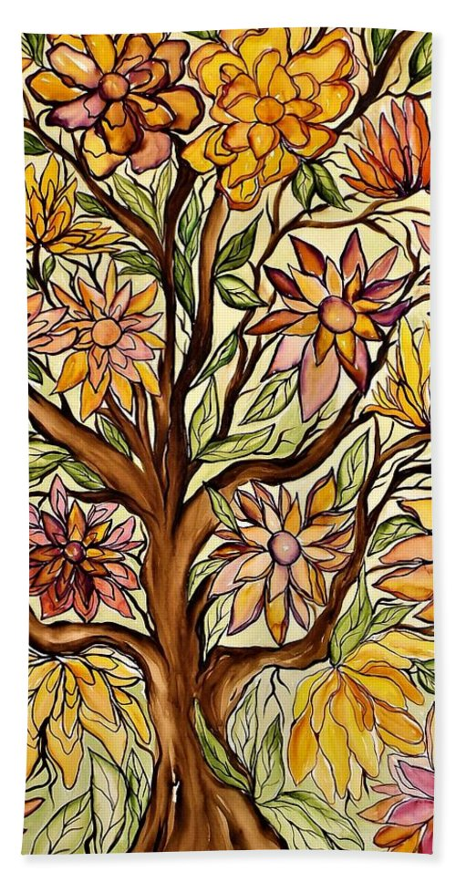 Flowers Bath Sheet featuring the painting I Choose Love by Lisa Aerts