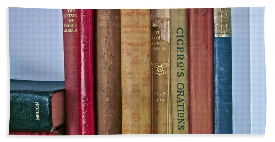 Photograph Of Books Bath Sheet featuring the photograph I Dare You Et Al. by Gwyn Newcombe