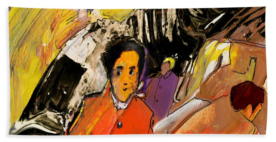Portraits Hand Towel featuring the painting I Dreamt Of Oscar Wilde by Miki De Goodaboom