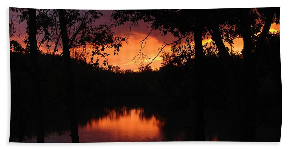 Sunset Hand Towel featuring the photograph I Found Red October by J R Seymour