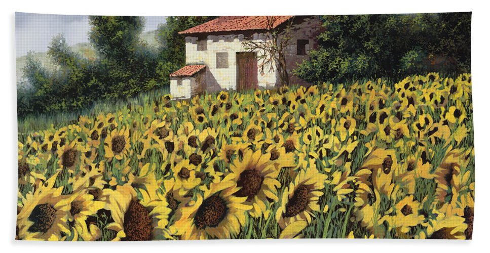 Tuscany Bath Towel featuring the painting I Girasoli Nel Campo by Guido Borelli
