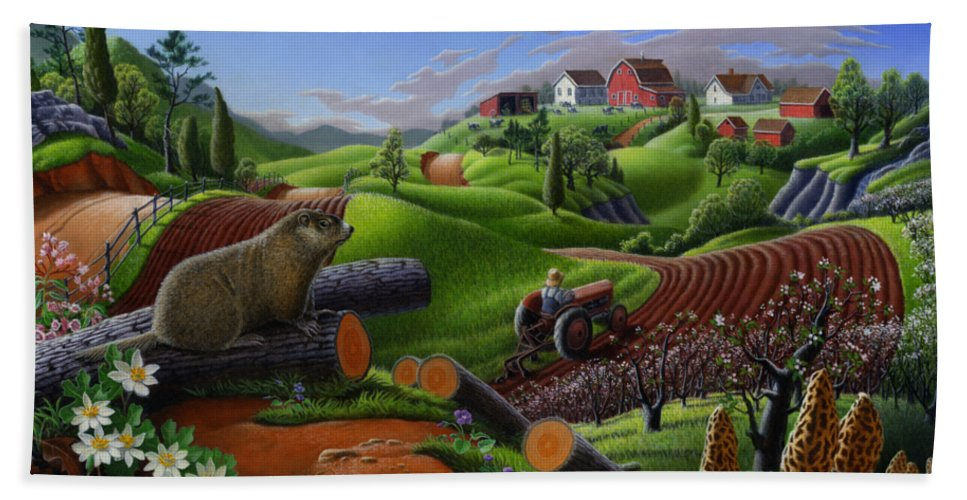 Farm Folk Art Bath Sheet featuring the painting I Love Farm Life T Shirt - Spring Groundhog - Country Farm Landscape 2 by Walt Curlee