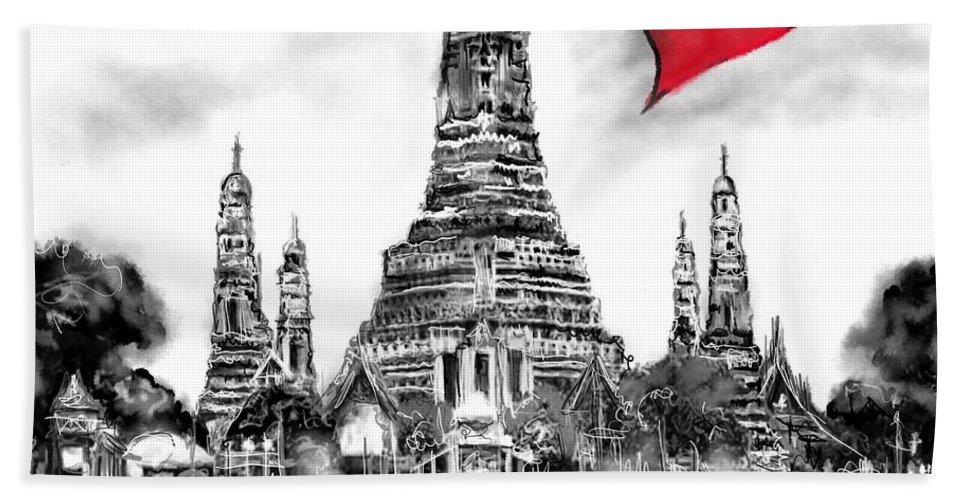 I Love Bangkok Hand Towel featuring the digital art I Love Bangkok by Sladjana Lazarevic