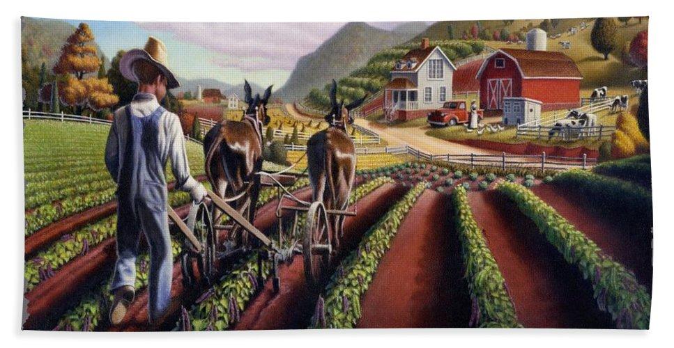 Appalachian Hand Towel featuring the painting I Love Farm Life Shirt - Farmer Cultivating Peas - Rural Farm Landscape by Walt Curlee
