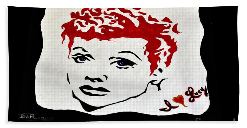 Lucy Hand Towel featuring the painting I Love Lucy by Davids Digits