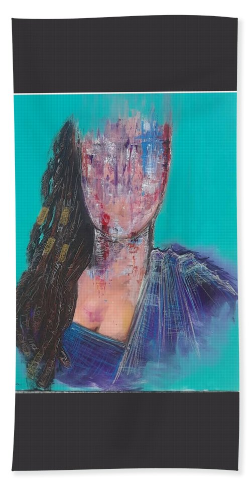 Mixed Media Hand Towel featuring the painting I Love My Dreds by Marcus Arceneaux