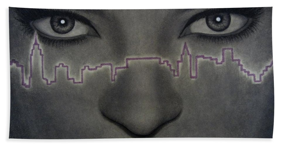 Woman Bath Towel featuring the painting I Love New York by Lynet McDonald