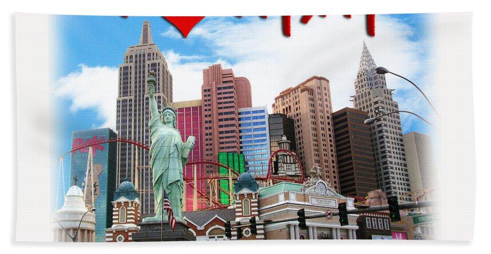 Las Vegas Bath Sheet featuring the photograph I Love Ny Ny by Gravityx9 Designs