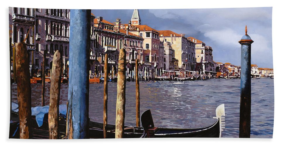 Venice Hand Towel featuring the painting I Pali Blu by Guido Borelli