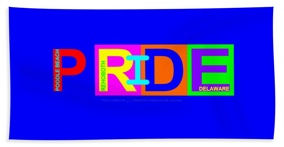 Hand Towel featuring the digital art I Put The Pride In Color by Poodle Beach Apparel