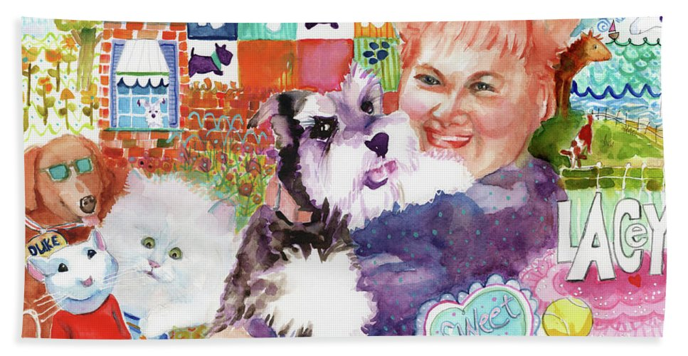 Fluffy Dog Bath Towel featuring the painting I Remember Lacey by Deborah Burow