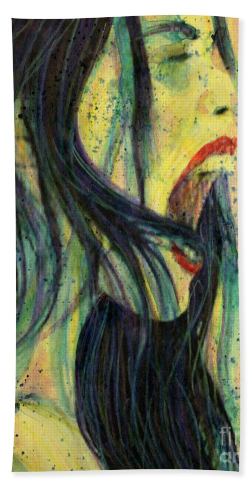Liv Tyler Hand Towel featuring the painting I Scream For You Liv Tyler by Lauri Crowe