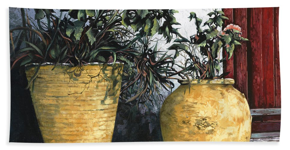 Vases Bath Sheet featuring the painting I Vasi by Guido Borelli