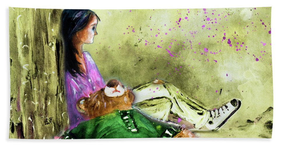 Truffle Mcfurry Bath Sheet featuring the painting I Want To Lay You Down In A Bed Of Roses by Miki De Goodaboom