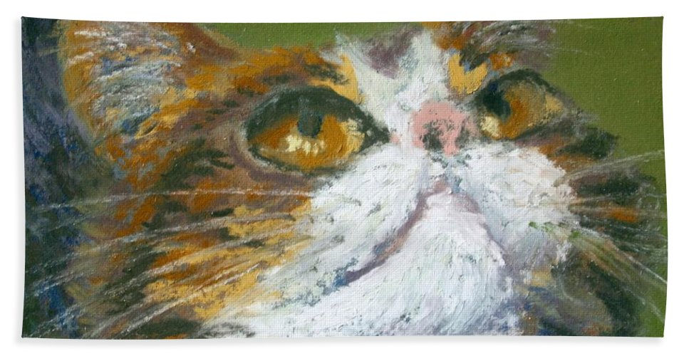 Cat Bath Sheet featuring the painting I Wish by Minaz Jantz