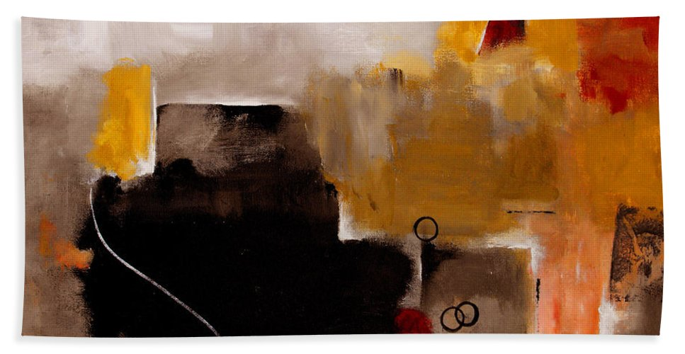 Abstract Hand Towel featuring the painting I Wonder by Ruth Palmer