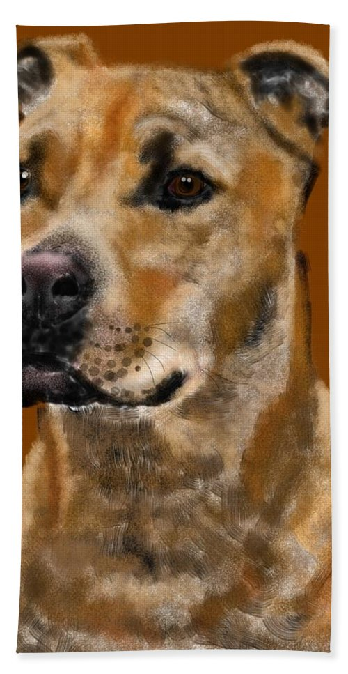 Animals Bath Sheet featuring the painting I Wonder What He's Thinking by Lois Ivancin Tavaf