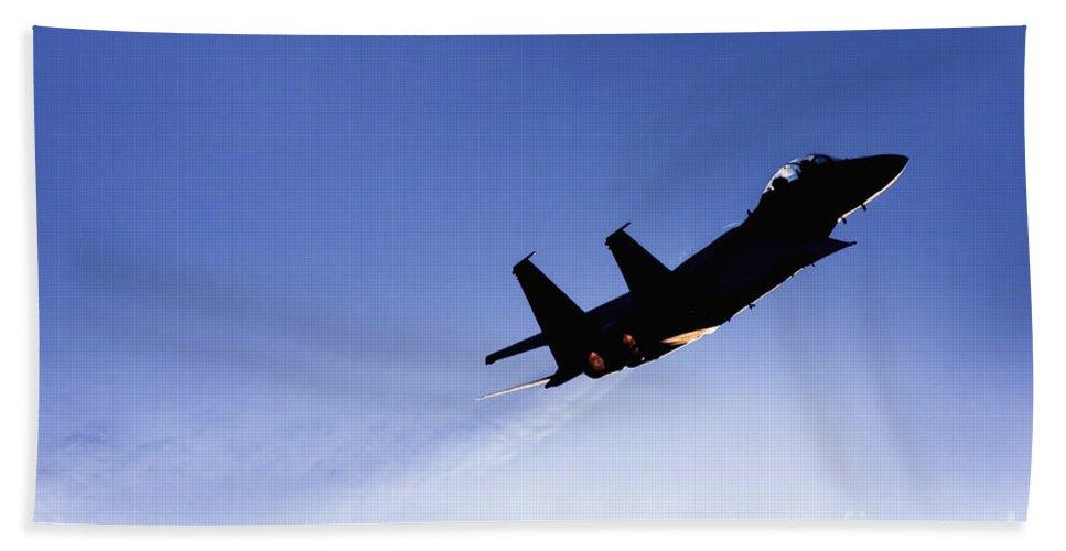Aircraft Bath Towel featuring the photograph Iaf F15i Fighter Jet by Nir Ben-Yosef