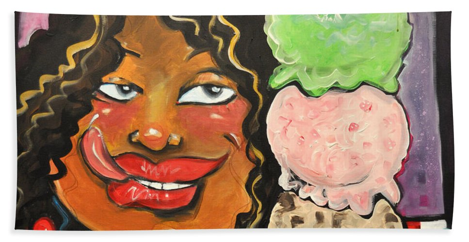 Ice Cream Bath Sheet featuring the painting Ice Cream by Tim Nyberg