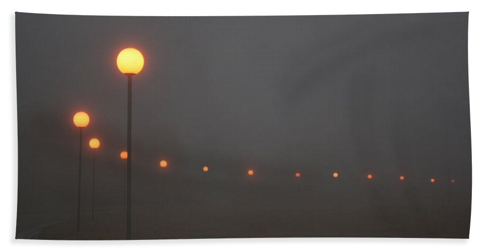 Ice Fog Park Lamps Misty Cold Weather Eerie Bath Sheet featuring the photograph Ice Fog And Park Lamps by Andrea Lawrence