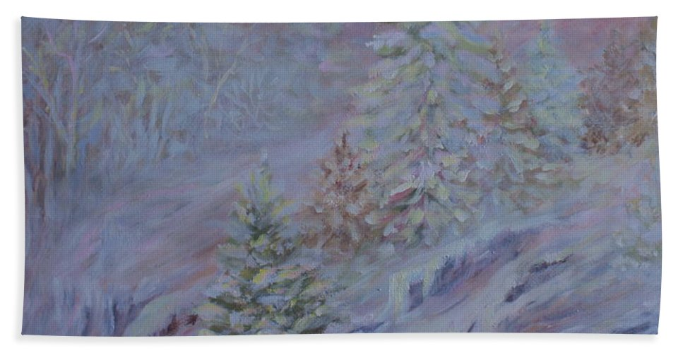Ice Fog In Northern Landscape Bath Sheet featuring the painting Ice Fog In The Forest by Joanne Smoley