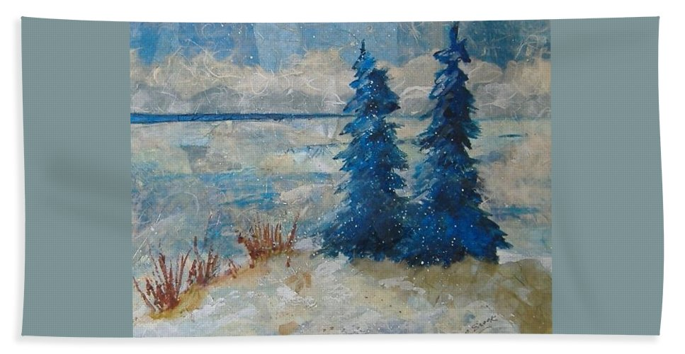 Landscape Bath Sheet featuring the mixed media Ice On Lake Erie by Pat Snook