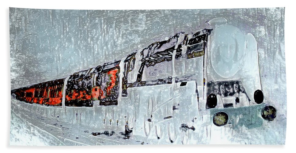 Train Hand Towel featuring the mixed media Ice Queen Express by Pennie McCracken