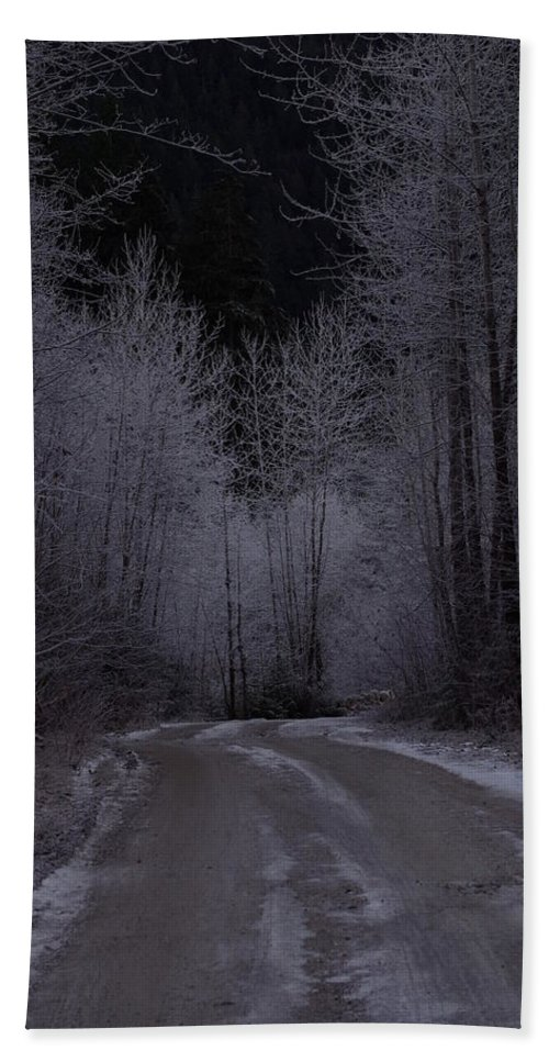 Ice Hand Towel featuring the photograph Ice Road by Cindy Johnston