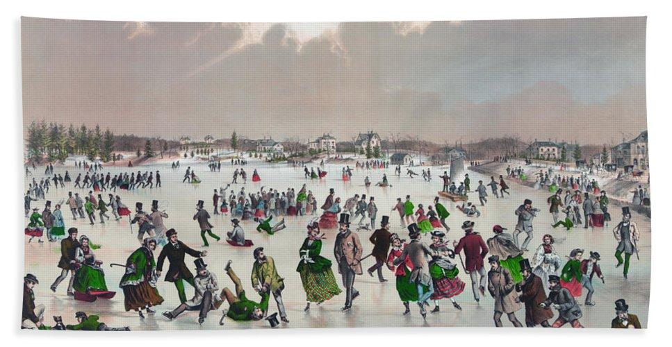 1859 Bath Towel featuring the painting Ice Skating, C1859 by Granger