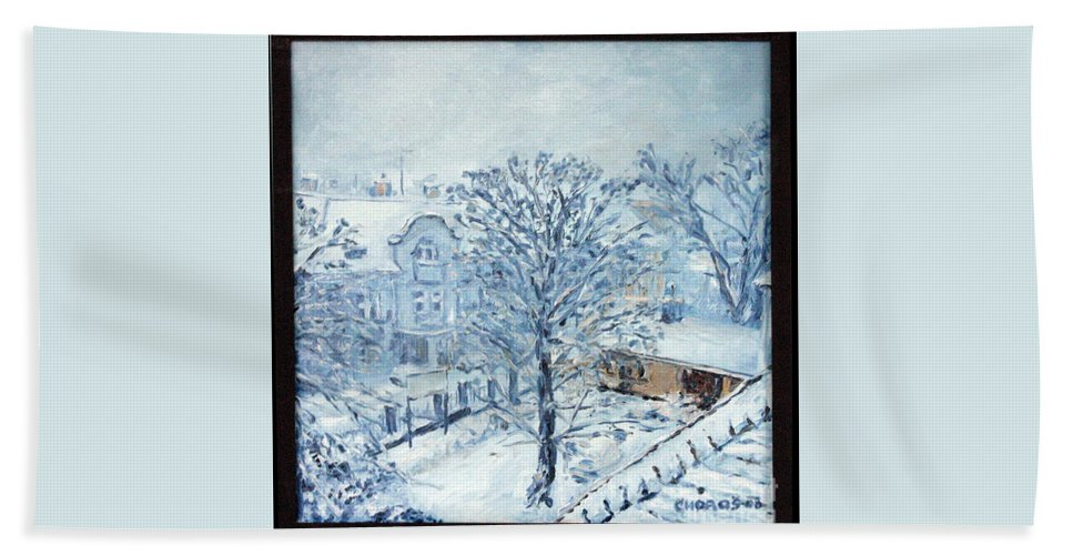 Landscape Bath Towel featuring the painting Ice White by Pablo de Choros